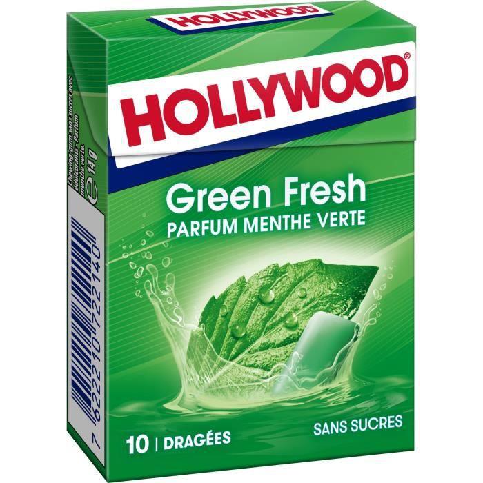 HOLLYWOOD Chewing Gum Green Fresh - Parfum Menthe verte - Sans Sucre avec Édulcorants - Lot de 20 paquets de 10 dragées x 14 g