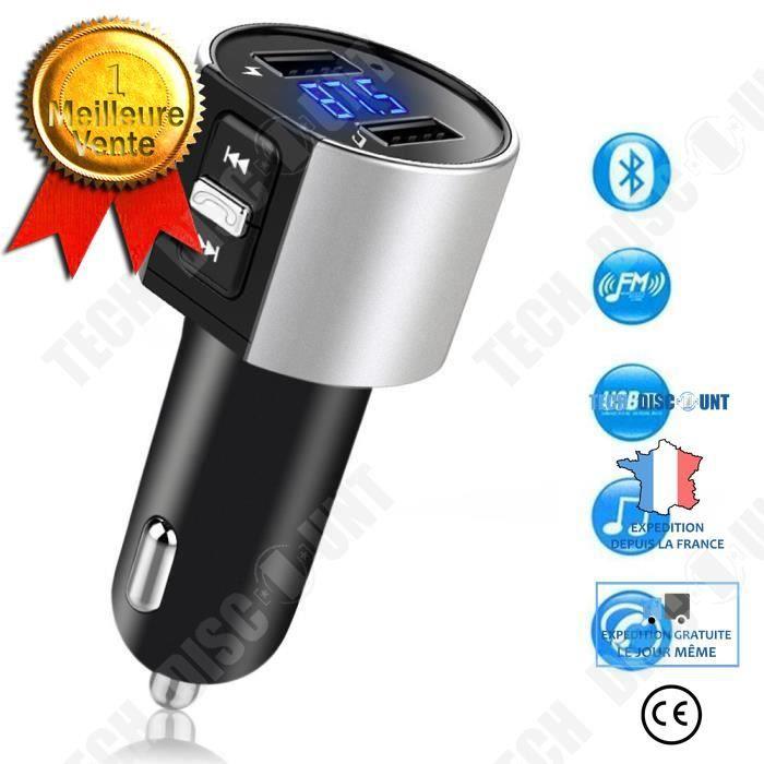 TD® Transmetteur FM Bluetooth pour voiture Récepteur sans fil Bluetooth Lecteur MP3 Adaptateur radio Kit voiture avec 5 V/2.4