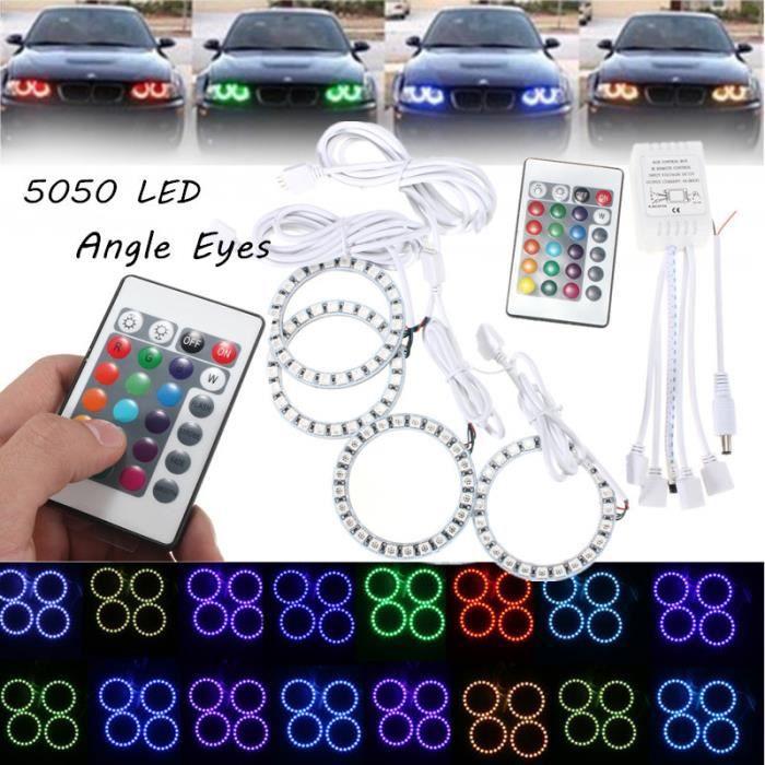 Kit Angel Eyes 24 LED RGB 5050 SMD Anneaux Feux 70mm télécommande Pour BMW 12V
