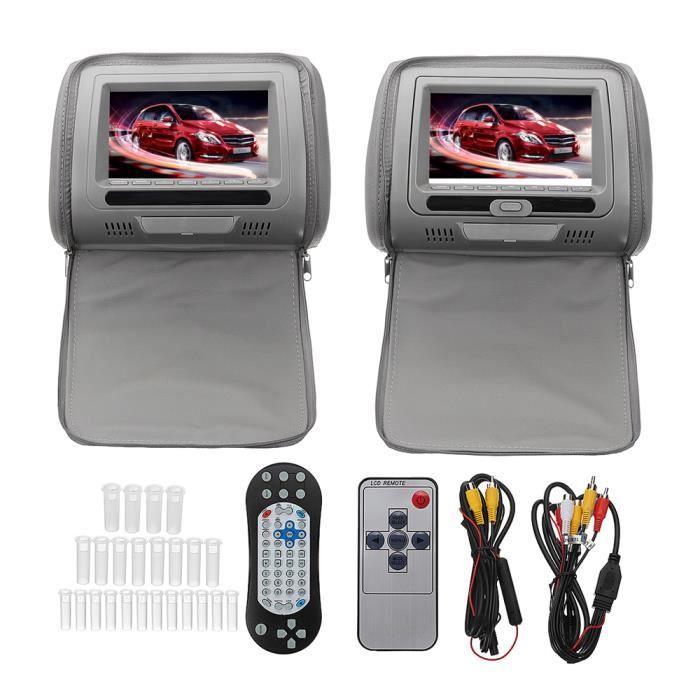 TEMPSA Kit Lecteur DvD voiture portable - 2 Télécommande multifonction - Résolution d'écran 800 x 480 Gris
