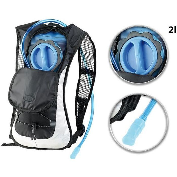 Sac à dos sport 5 L imperméable et réfléchissant - Avec poche à eau 2 L