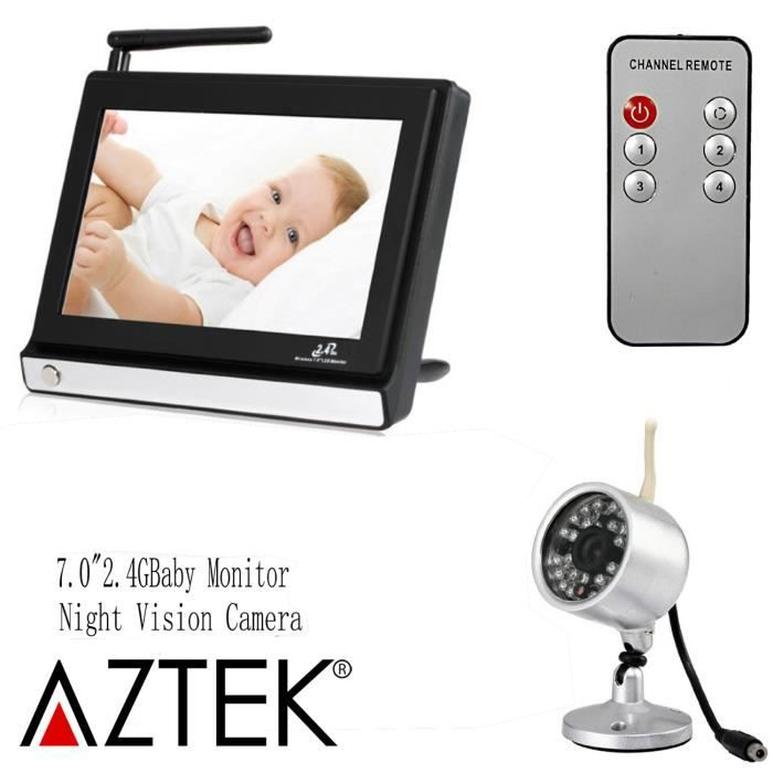 babyphone vid o surveillance lcd ecoute b b 2 4g blanc. Black Bedroom Furniture Sets. Home Design Ideas