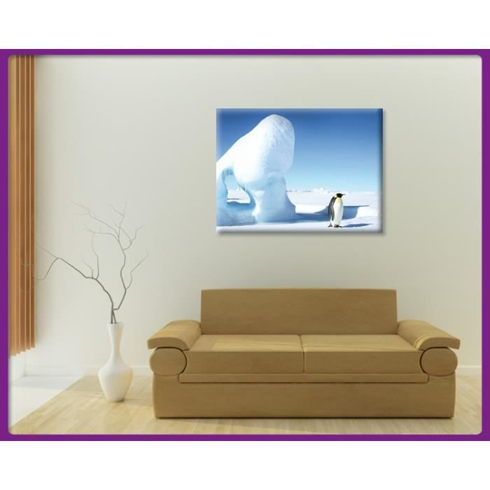 bilderdepot24 impression sur toile pinguin on ice 120x90cm achat vente tableau toile. Black Bedroom Furniture Sets. Home Design Ideas