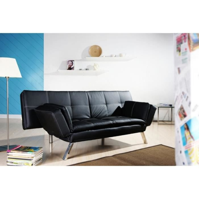 banquette convertible noire milano simili cuir achat. Black Bedroom Furniture Sets. Home Design Ideas