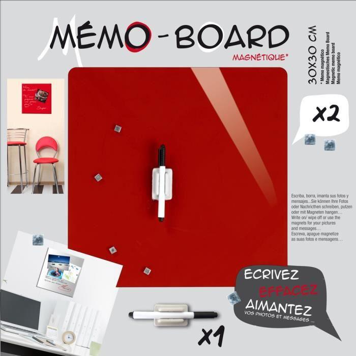 MÉMO - ARDOISE MURALE EMOTION Mémo board magnétique verre rouge 30x30 cm