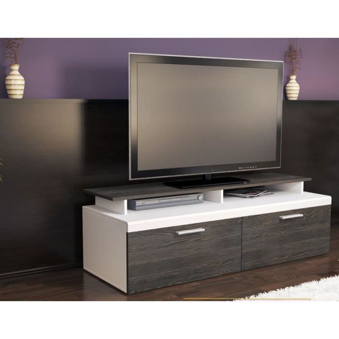 meuble tv blanc bois weng 140 cm achat vente meuble tv meuble tv blanc bois weng cdiscount. Black Bedroom Furniture Sets. Home Design Ideas