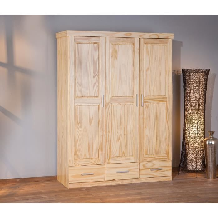 armoire en bois massif 3 portes et tiroirs achat vente. Black Bedroom Furniture Sets. Home Design Ideas