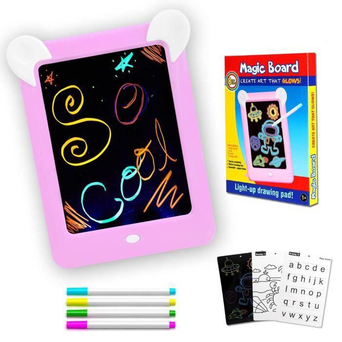 PHYLES Tableau Magique , Ardoise Magique pour Enfant , Tableau de Dessin  Multifonction avec 8 Effets Lumineux - Loisir Créatif Jo