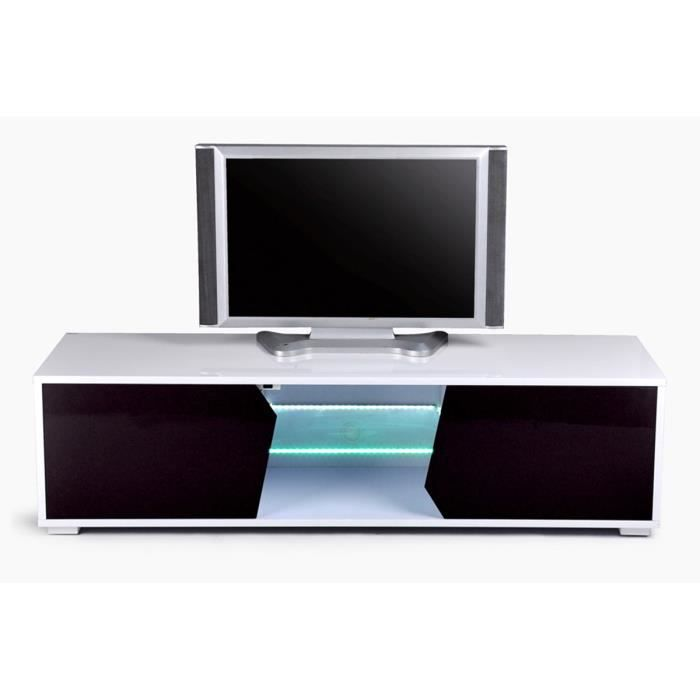 meuble tv led lumineux noir blanc kelia achat vente. Black Bedroom Furniture Sets. Home Design Ideas