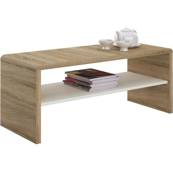 Table basse NOELLE, table de salon rectangulaire ou meuble TV de 120 ...