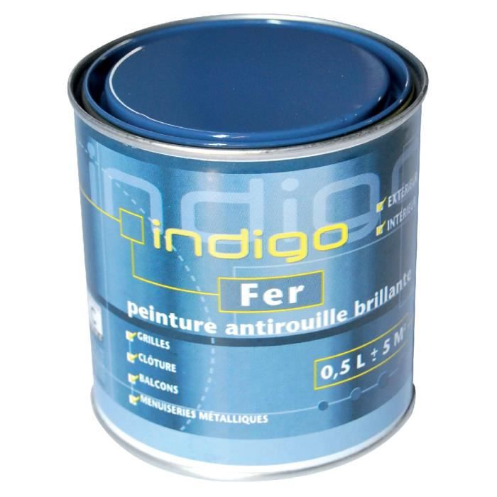 peinture fer antirouille 500ml indigo bleu acier achat. Black Bedroom Furniture Sets. Home Design Ideas
