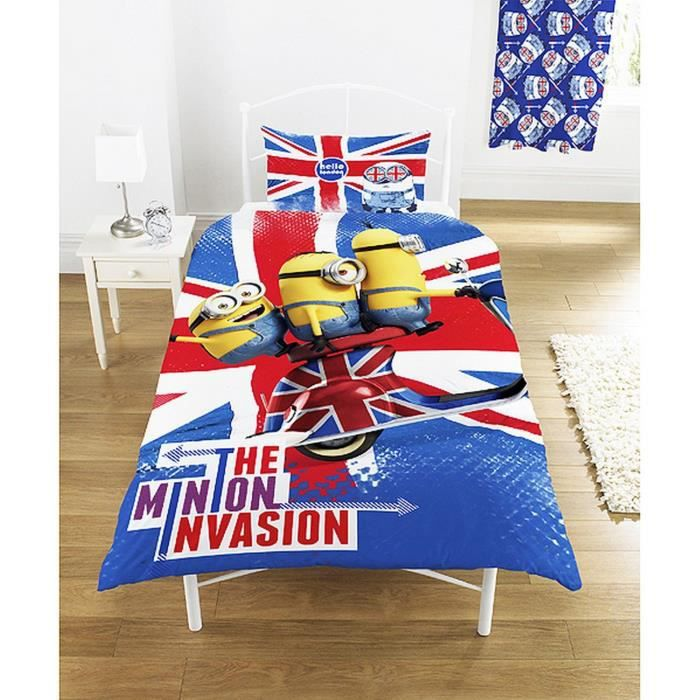 Parure de lit double minions invasion londres london despacable me achat vente parure de for Parure lit double