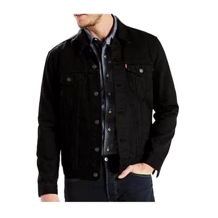 veste en jeans levi 39 s trucker noir noir noir achat vente veste cdiscount. Black Bedroom Furniture Sets. Home Design Ideas