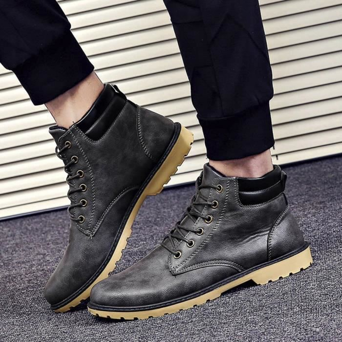 Occasionnels Hommes Low Bottes Cheville gris Hiver 1528 Chaussures Plate Automne Hexiaoqin Martin Garniture HAwH0Fxr