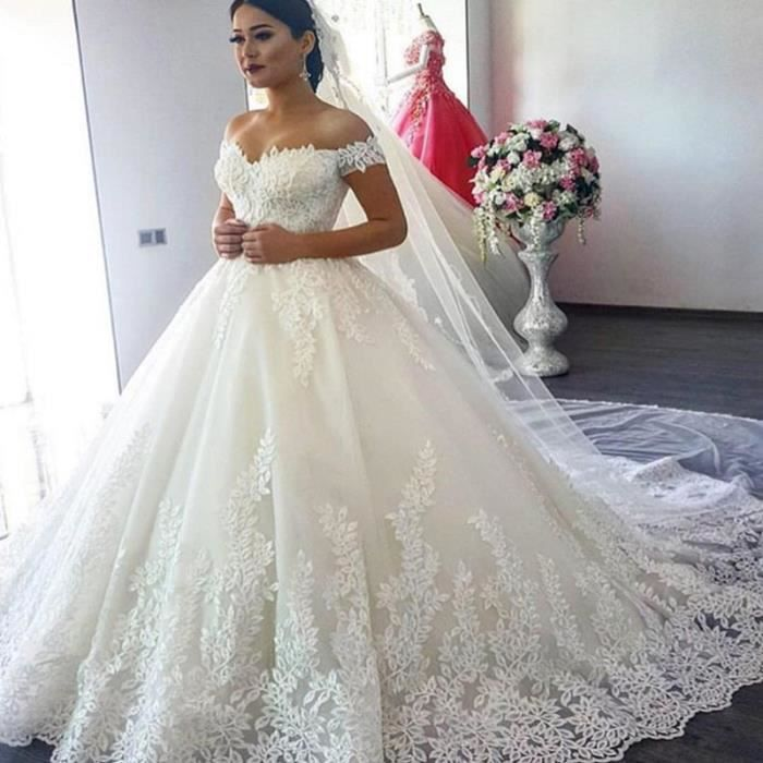 GLAM®2019 de Luxe De Robe de Mariée En Dentelle