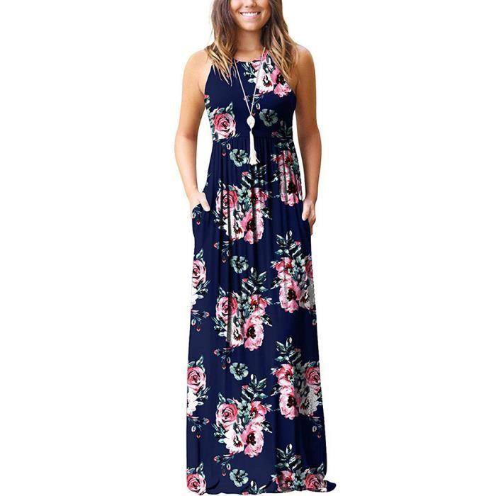 Robe Longue Boheme Imprimee Fleurie Sans Manches Pour Femme Avec Robe D Ete A Poche Marine Marine Achat Vente Robe Cdiscount