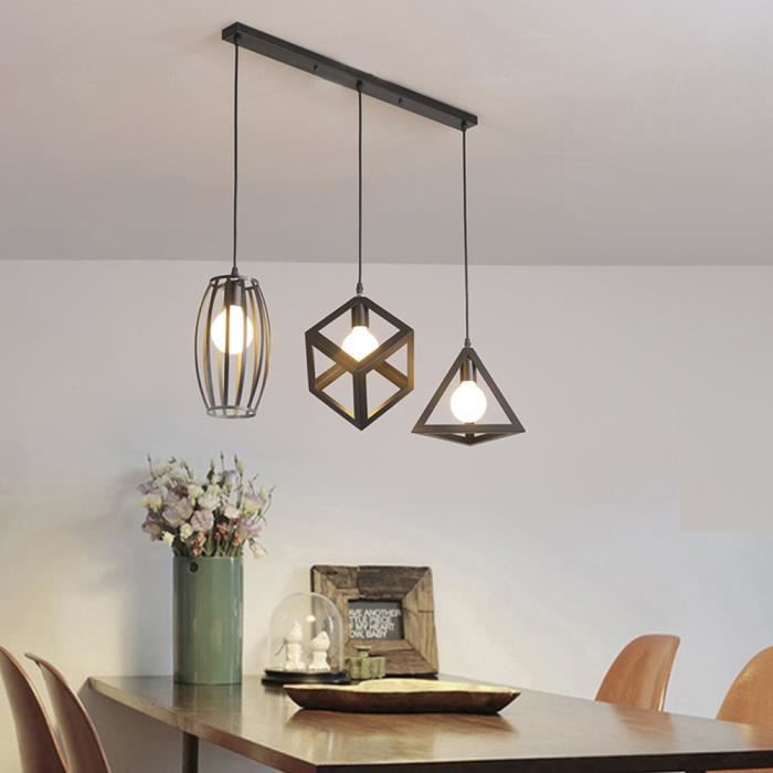 stoex lustre suspension 3 lampes industriel luminaire abat jour noir e27 pour cuisine. Black Bedroom Furniture Sets. Home Design Ideas