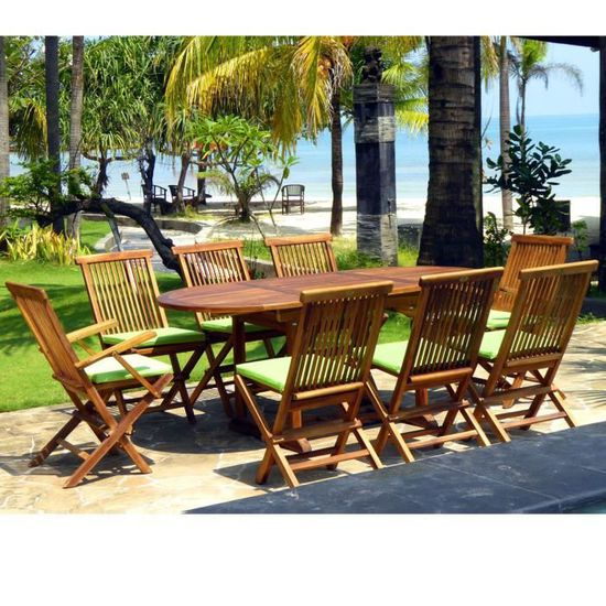Salon de jardin en teck huilé ensemble Bali 8 places + ...