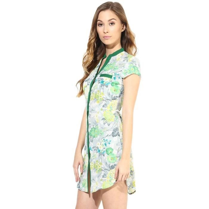 Womens Casual Shirt Dress In Printed Fabric HEJA4 Taille-36