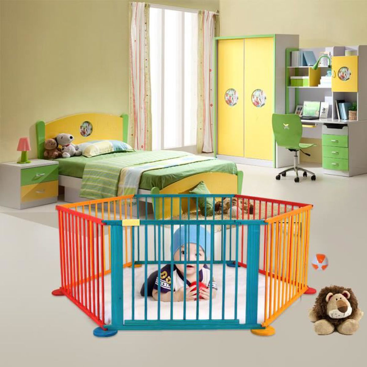 barri re de s curit enfant b b pliable parc bois 6 c t s parfeu de chemin e protection comme. Black Bedroom Furniture Sets. Home Design Ideas