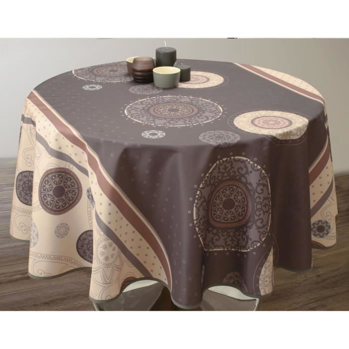 nappe anti taches ronde 160 cm tzigane gris achat vente nappe de table cdiscount. Black Bedroom Furniture Sets. Home Design Ideas