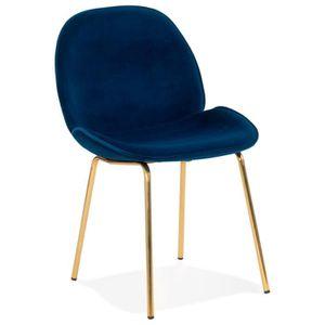 CHAISE Chaise vintage 'MAGALY' en velours bleu et pieds e