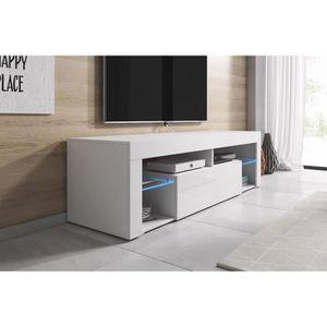 MEUBLE TV Meuble 140 cm blanc mat et façade laquée + led