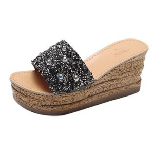 SLIP-ON Glitter Platform Gladiator Casual Chaussures Femme