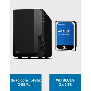 SERVEUR STOCKAGE - NAS  Synology DS218 WD BLUE 4To