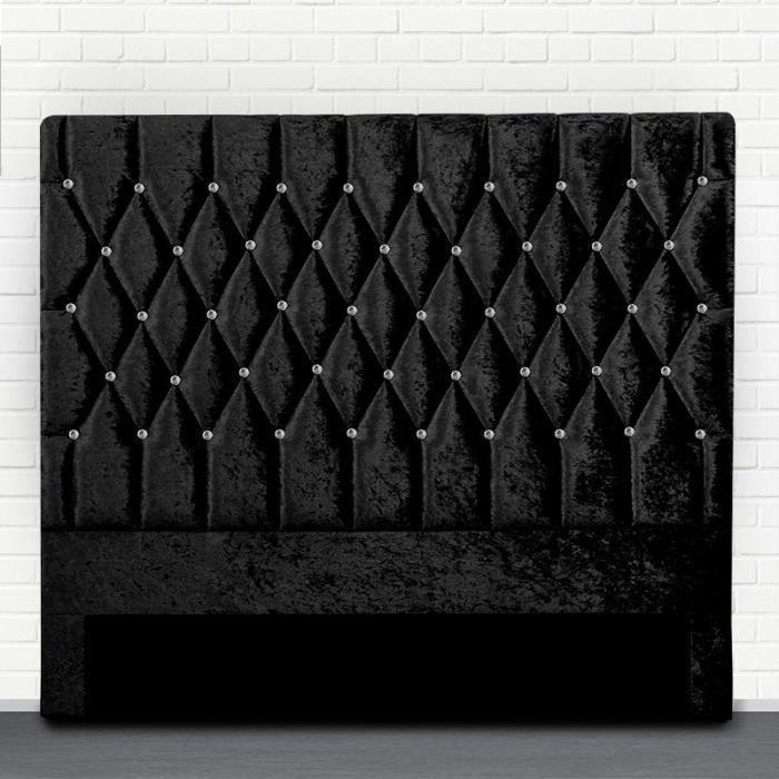 Tête de lit capitonné avec strass FOCUS - Noir - 160 cm