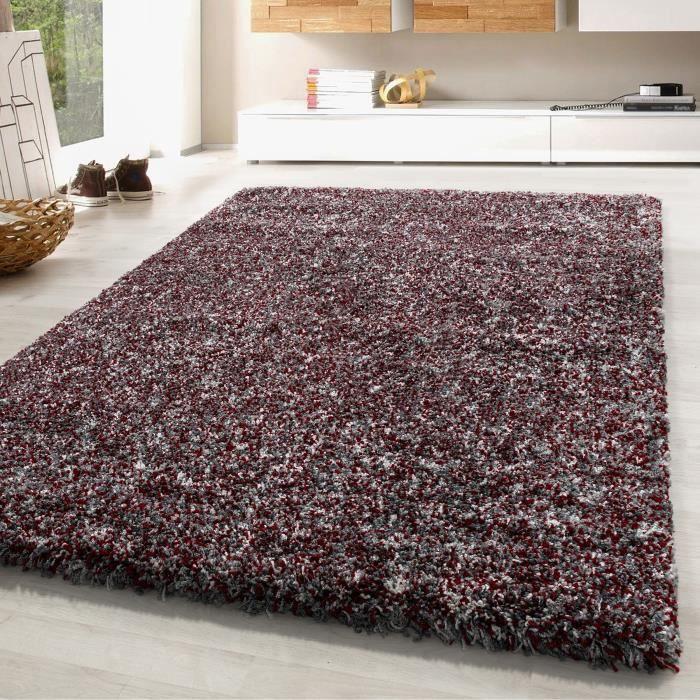 Tapis shaggy à poils longs doux tapis pour salon gris rouge gris creme tacheté [160x230 cm, rouge]