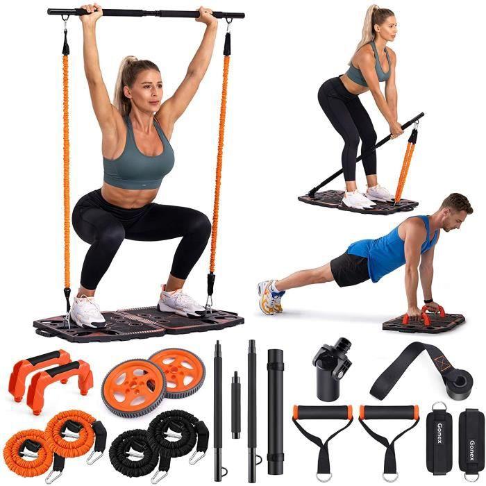 Équipement Portable pour entraînement à la maison avec 10 accessoires d'exercice Roue abdominale, bandes de résistance élastique pou