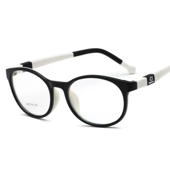 Montures de Lunettes de vue,Lunettes optiques tr90 flexibles pour enfants Monture de lunettes sûres pour filles - Type black white