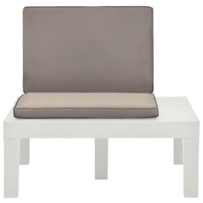 Fur© Chaise de salon de jardin Décor avec coussin Chaise de cuisine - Chaise de salle à manger Plastique Blanc ♕59036