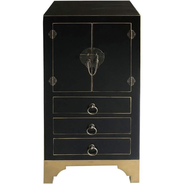 Commode Chambre Vidal Regalos Commode haut en bois Noir 90 cm106