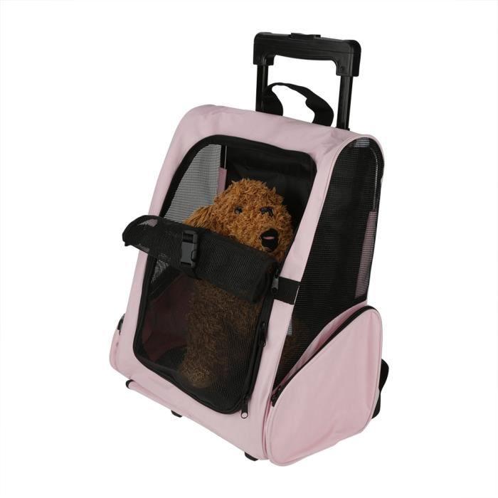 XNA Sac de transport portable pour animaux de compagnie Sac à dos à roulettes Sac à dos de transport pour chien de chat (Rose) #26