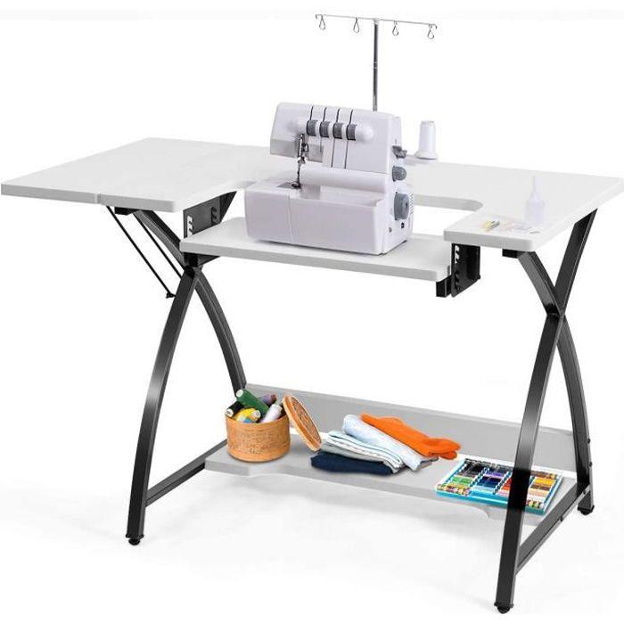DREAMADE Table de Couture avec Plateau Réglable,Bureau d'Ordinateur avec Plate-Forme Pliable et Étagère de Rangement,pour Bureau