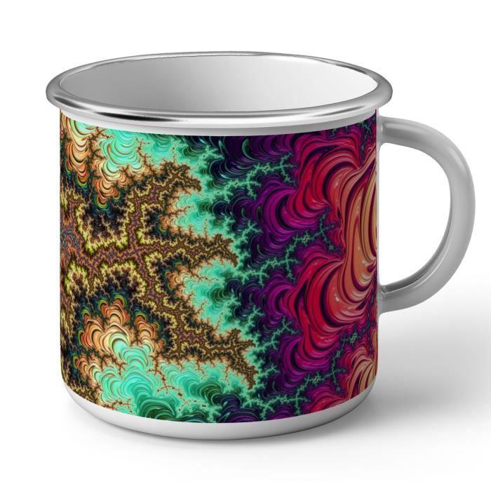 Mug en Métal Emaillé Motifs Multicolore AbstraitsHippie Psychedelique 70's