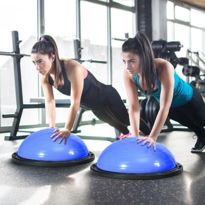 GIANTEX Ballon d'équilibre Φ59 CM avec 2 Cordes Élastiques Pompe de Main pour Fitness, Formage, Yoga,Capacité de Charge 200KG