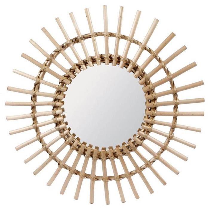 Fantastique Miroir Tendance Grande Glace Décorative Ronde Design Soleil Armature Naturel en Rotin 3x65x65cm Marron