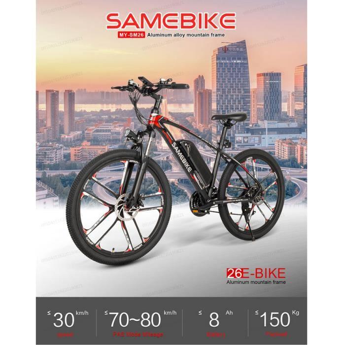 Vélo assistance Electrique - Cyclomoteur E-Scooter VTT Intelligent - Samebike MY - 26'' 350W 30 km / h - 8Ah / 48V 2000mAh - Noir
