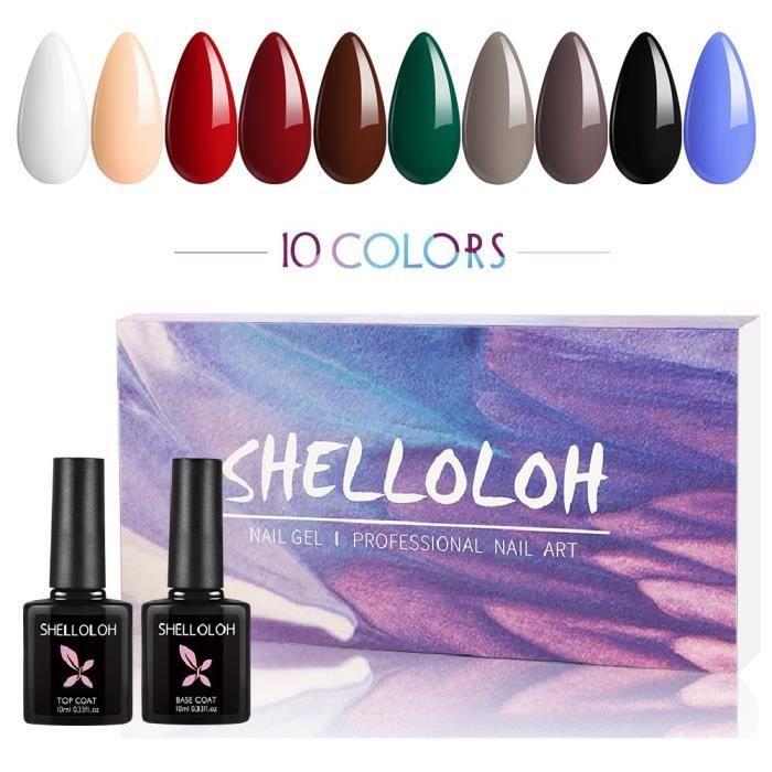 Shelloloh Nail Gel Vernis Semi Permanent Soak Off UV Gel Vernis à Ongles 12pcs 10ml(10 couleurs + Base Coat & Top Coat)