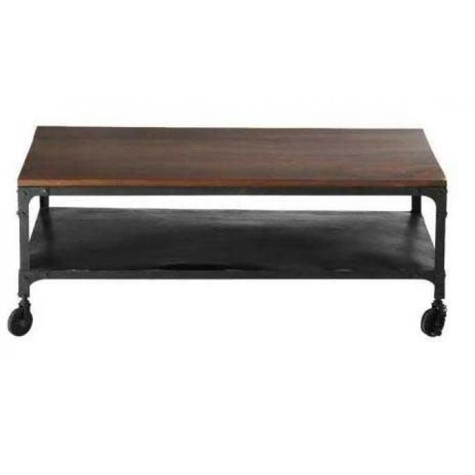 Table basse industrielle à roulettes en bois MOVEA