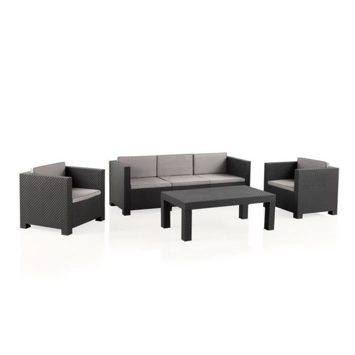 Salon de jardin SOPHIE II en résine moulée: 2 fauteuils, un canapé 3 places, une grande table basse - anthracite
