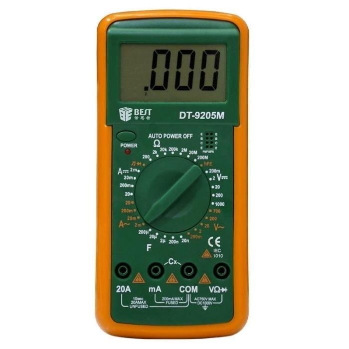 Multimètre digital MEILLEUR 9205M 9V portable écran LCD numérique avec Buzzer Test Meter
