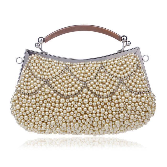 Femme Sacs à main avec Strass Perles Femmes Soirée Bal Party Clutch Bag New