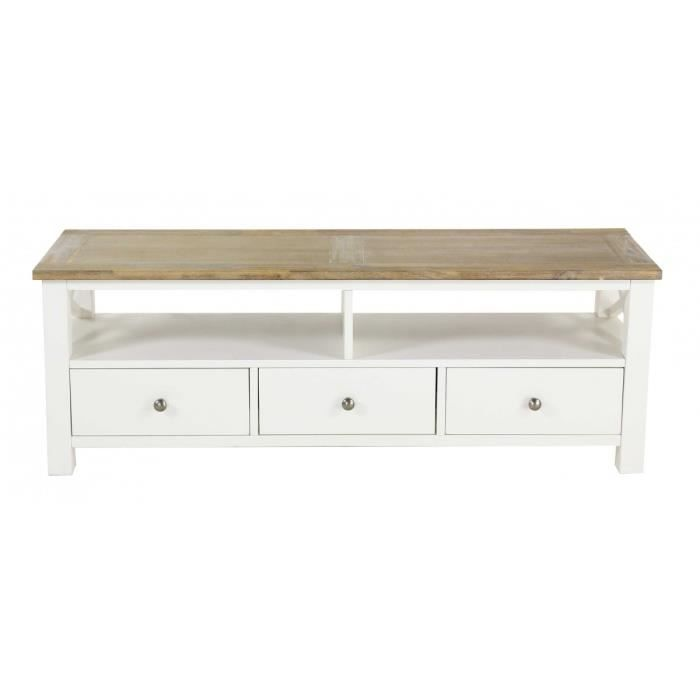 meuble tv blanc 130 cm bois d 39 acacia milano achat. Black Bedroom Furniture Sets. Home Design Ideas