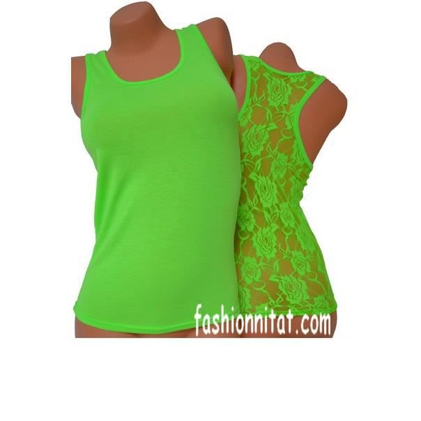 tee shirt debardeur top femme vert fluo vert achat vente d bardeur cdiscount. Black Bedroom Furniture Sets. Home Design Ideas