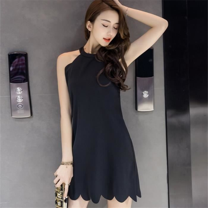 Mode New Dress Sexy Femmes Robe Mini solide O-cou Sexy Party Robe A-ligne Casual Robes Vêtement
