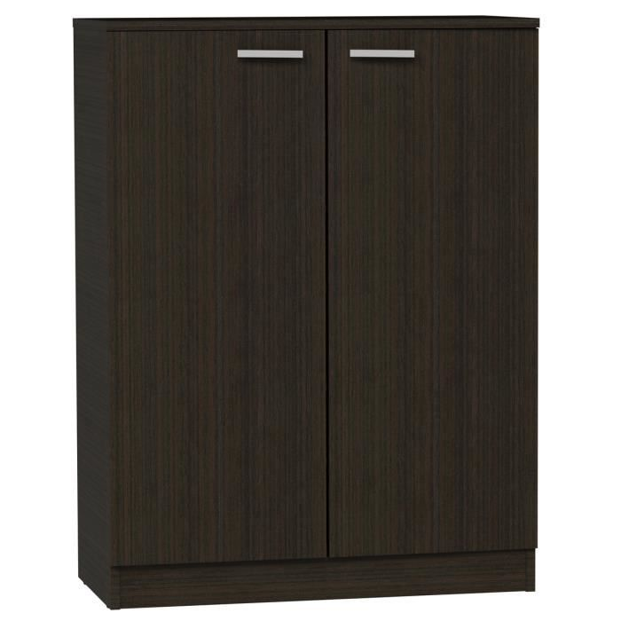 armoire meuble chaussures wengu pour 24 paires de 2 portes et 6 tag res achat vente. Black Bedroom Furniture Sets. Home Design Ideas